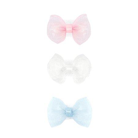 Wee Ones 3 Baby Organza Velcro Bowties