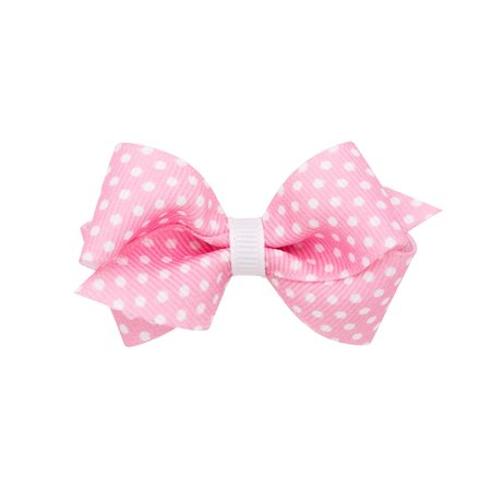 Wee Ones Pink and White Print Grosgrain Bow Hair Clip