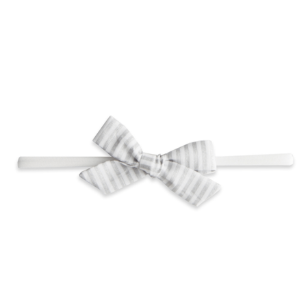 Baby Bling Baby Bling Cotton Print Bow- Silver Stripe