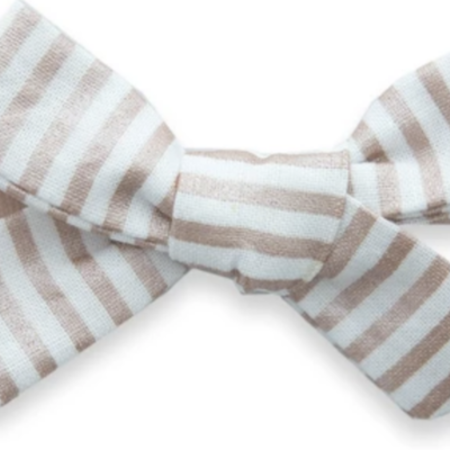 Baby Bling Baby Bling Cotton Print Bow- Rose Gold Stripe