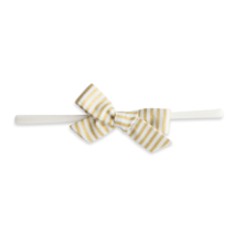 Baby Bling Cotton Print Bow- Gold Stripe