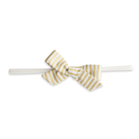 Baby Bling Baby Bling Cotton Print Bow- Gold Stripe
