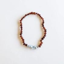 "Canyon Leaf Kids: Raw Cognac Amber + Amazonite Necklace 11"""