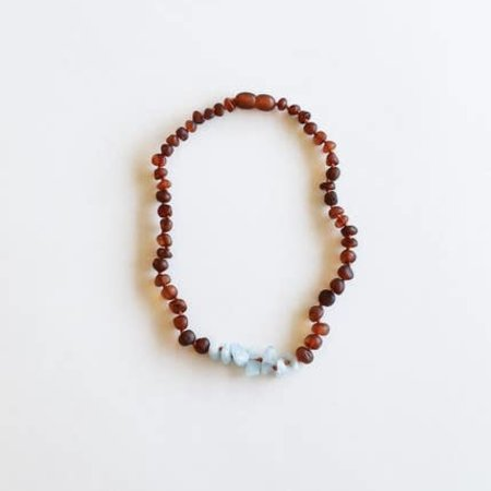 Canyon Leaf Canyon Leaf Kids: Raw Cognac Amber + Amazonite Necklace 11""