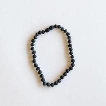 "Canyon Leaf Kids: Raw Black Amber Necklace 11"""