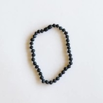 Raw Black Amber Necklace 11""