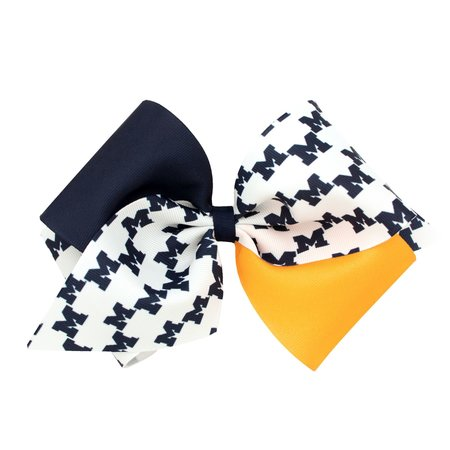 Wee Ones U of M Color Block Small Bow White Headband: Newborn