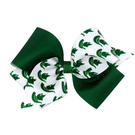 Wee Ones MSU Color Block Small Bow White Headband: Infant