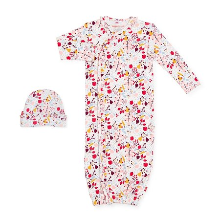 Magnetic Me Organic Cotton Magnetic Gown + Hat- Pom Pom