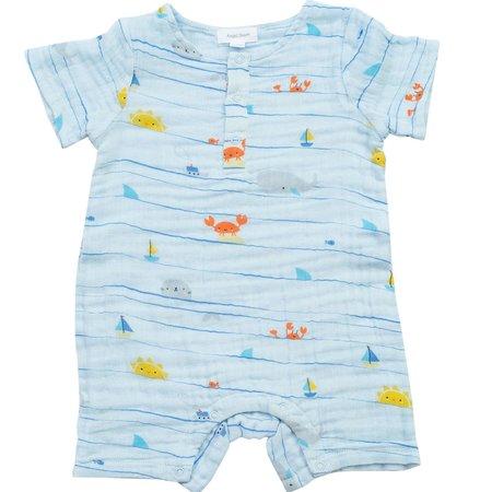 Angel Dear Angel Dear Sea Stripes Muslin Romper 6-12 months
