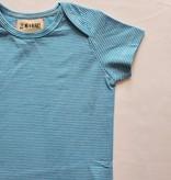 Me & Henry Cotton Bodysuit- Bright Blue Mini Stripe