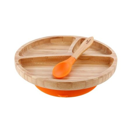 Avanchy Bamboo & Silicone Toddler Suction Plate & Spoon