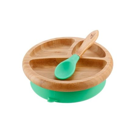 Avanchy Bamboo & Silicone Baby Suction Plate & Spoon