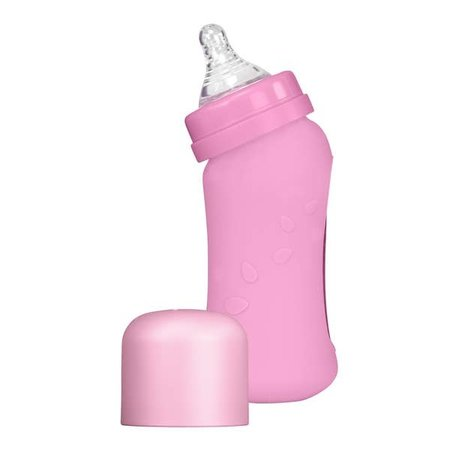 Green Sprouts 8 oz Glass Bottle with Silicone Cover- Pink