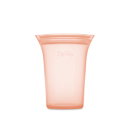 Zip Top Large Silicone Storage Cup- Peach