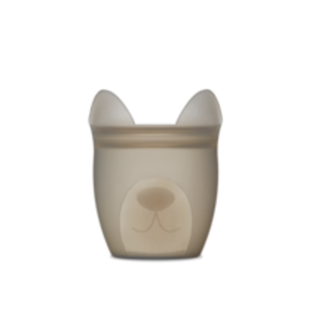 Zip Top Silicone Baby Snack Container- Gray Dog