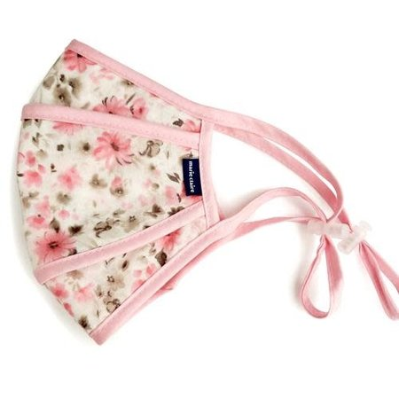 Komuello Adult Cloth Mask w/ Filter Pouch- Pink Floral