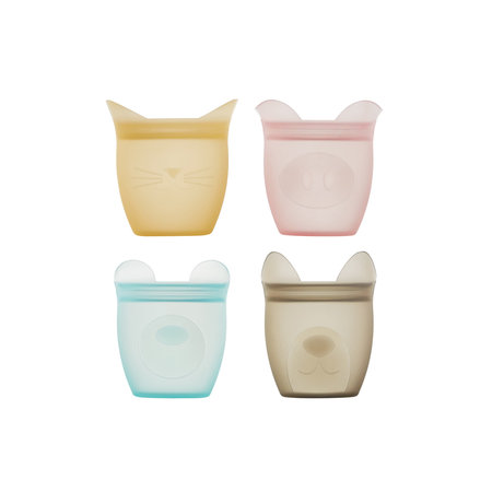 Zip Top Silicone Baby Snack Container 4pk