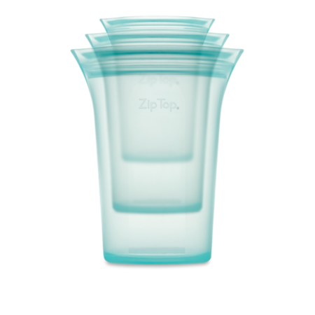 Zip Top Silicone Cup Set (S,M,L) - Teal