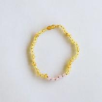 "Raw Honey Amber + Raw Rose Quartz Necklace 11"""