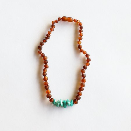 Canyon Leaf CanyonLeaf Kids: Raw Cognac Amber + Raw Green Amazonite Necklace 11""