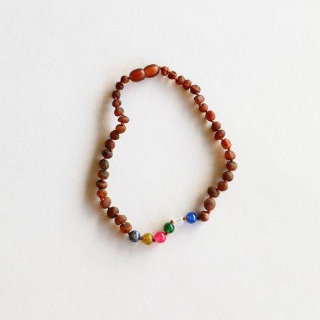 "Canyon Leaf CanyonLeaf Kids: Raw Cognac Amber + Vintage Style Necklace- 11"""