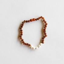 """Raw Cognac Amber + Pearls Necklace 11"""""""