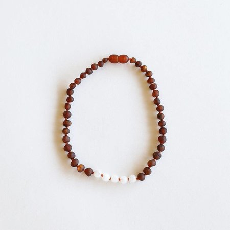 Canyon Leaf CanyonLeaf Kids: Raw Amber + Moonstone Necklace 11""