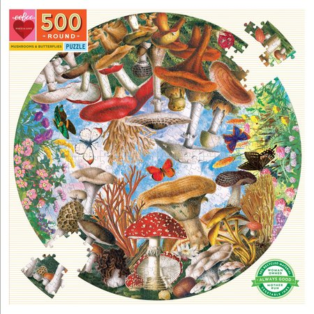 eeBoo Mushrooms and Butterflies 500 Piece Round Puzzle