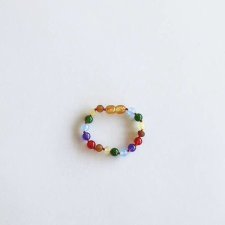 Canyon Leaf Canyon Leaf Kids: Raw Amber + Gemstone Rainbow Anklet- 5""