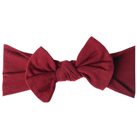 Copper Pearl Knit Headband Bow- Ruby