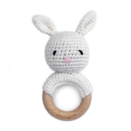 Cheengoo Cotton/ Wood Teething Rattle - Bunny (Snow)