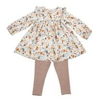 Autumn Owls Ruffle Dress + Leggings