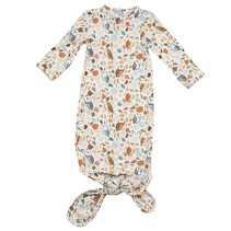 Autumn Owls Knotted Gown 0-3m