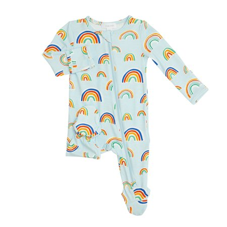 Angel Dear Blue Rainbows Zipper Footie