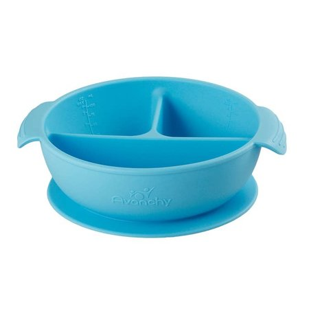 Avanchy Silicone Suction Divided Baby Bowl + Lid- Blue