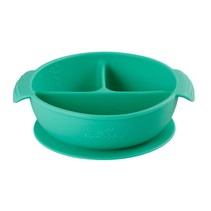 Silicone Suction Divided Baby Bowl + Lid- Green