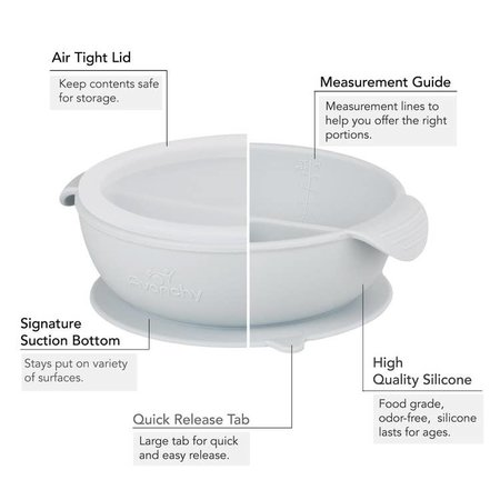 Avanchy Silicone Suction Divided Baby Bowl + Lid- Gray