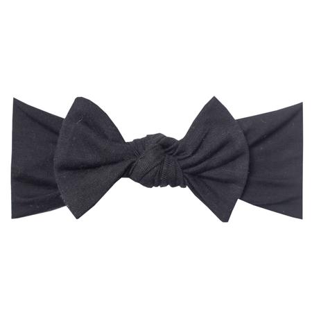 Copper Pearl Knit Headband Bow- Midnight