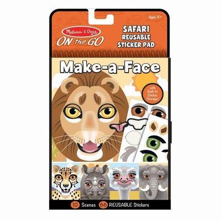 Melissa & Doug Make-a-Face Reusable Sticker Pad- Safari