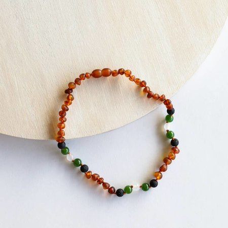 Canyon Leaf Cognac Amber + Lava + Jade + Agate Necklace