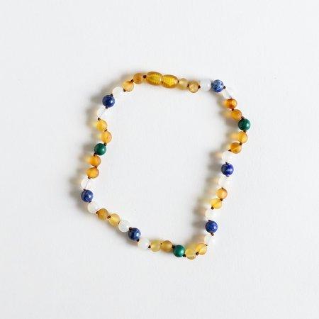 """Canyon Leaf Canyon Leaf Kids: Raw Amber + Malachite + Lapis Necklace- 11"""""""