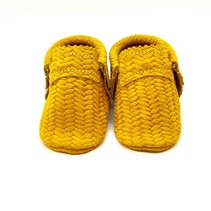Basket Weave Yellow Moccs