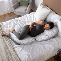 Boppy Bamboo Total Body Pillow w/ Removable Cover Gray Scattered Leaves