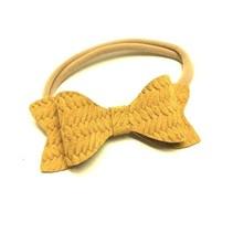 Basketweave Leather Headband Bow
