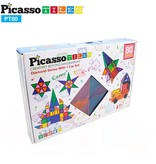 Picasso Tiles 80 Piece Master Builder Magnetic Tile Block Set