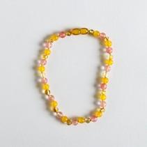 """Polished Amber + Gemstone Necklace 11"""""""
