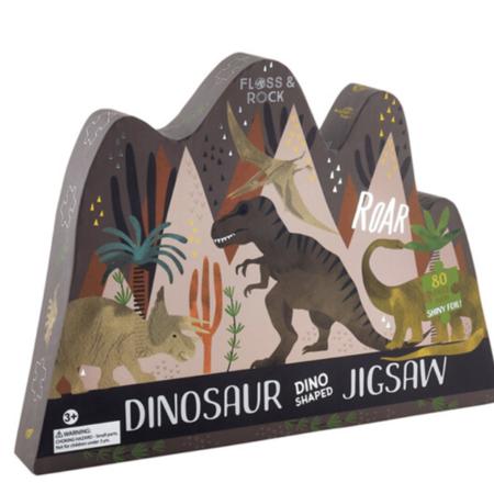 Floss & Rock Dino Shaped Jigsaw 80pc