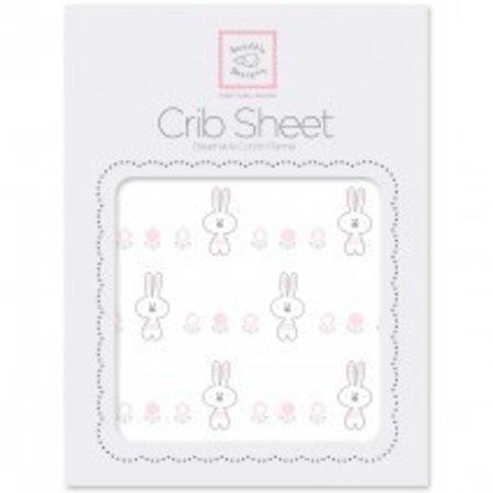 Swaddle Designs Cotton Flannel Crib Sheet Garden Bunnie Pastel Pink