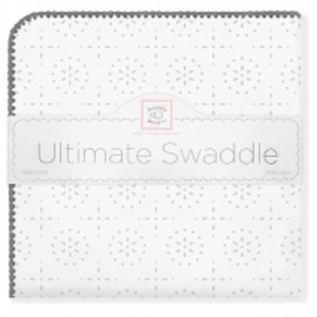 Swaddle Designs Ultimate Swaddle Blanket Sterling Sparklers with Dark Gray Trim Sterling